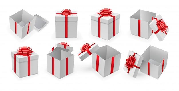 Geschenkbox. öffnen sie die geschenkbox mit dem roten band und dem bogenvektor. überraschungsgeschenkbox-satz für geburtstags- oder weihnachtsfeiertagskonzept.