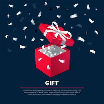 Geschenkbox und silberne konfetti