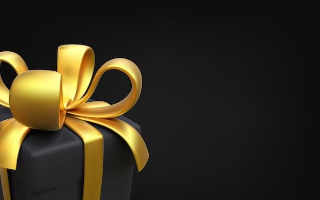Geschenkbox weihnachtsbanner schwarzes geschenk für weihnachts- und neujahrskarte