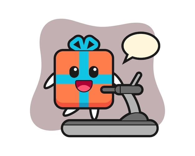 Geschenkbox-zeichentrickfigur, die auf dem laufband geht