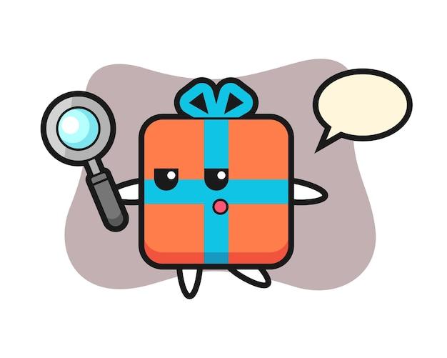 Geschenkbox-zeichentrickfigur, die mit einer lupe sucht