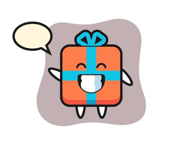 Geschenkbox-zeichentrickfigur, die wellenhandgeste tut