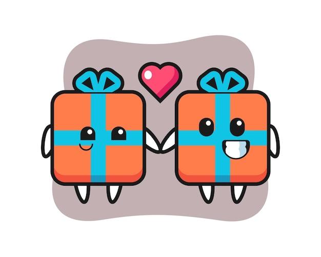 Geschenkbox-zeichentrickfigurenpaar mit verliebter geste