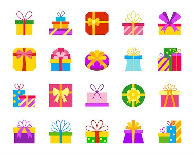 Geschenkboxen, geschenk, flache ikonen des pakets stellten, für geburtstag, weihnachten, feiertagsdesign ein.