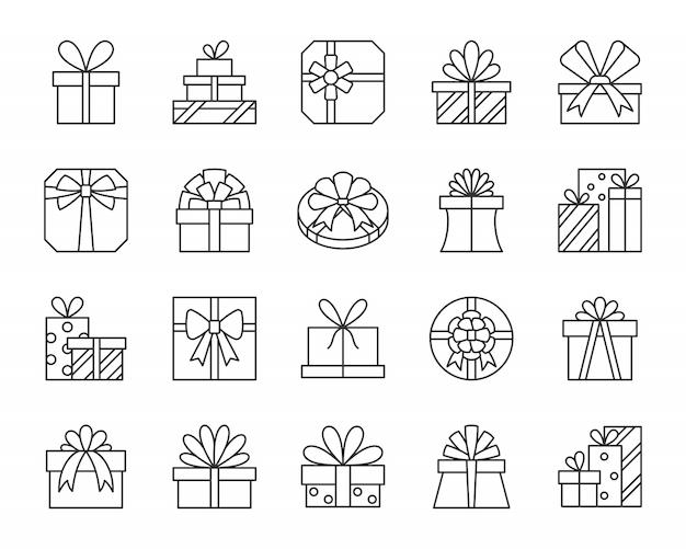 Geschenkboxen, geschenk, paketlinie ikonen stellten, für geburtstag, weihnachten, feiertagsdesign ein.