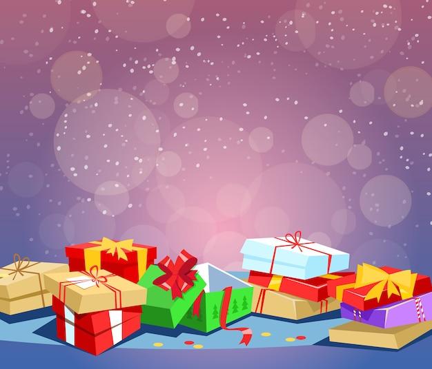 Geschenkboxen, geschenkgeburtstag, weihnachtsgeschenk. Premium Vektoren