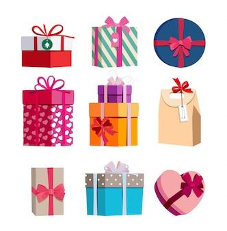 Geschenkboxen in verschiedenen farben mit bändern. vektorabbildungen eingestellt