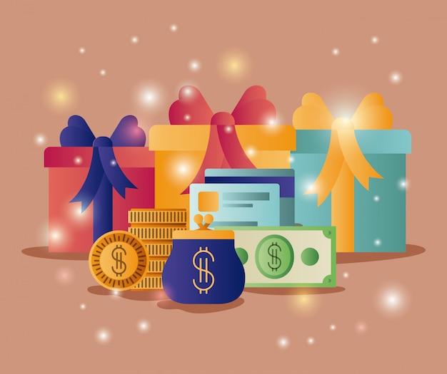 Geschenkboxen mit kommerziellen symbolen