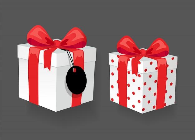 Geschenkboxen mit leeren preisschild, online-shopping
