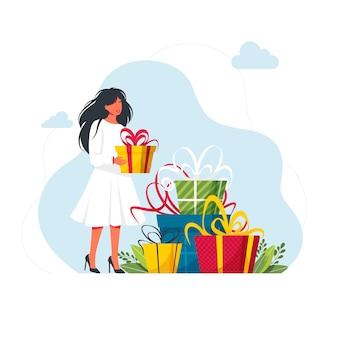 Geschenkboxen mit schleife. konzept des treueprogramms. menschen, die geschenke und belohnungen aus dem geschäft, bonuspunkte, rabatt erhalten.