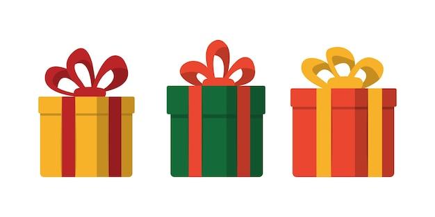 Geschenkboxen mit schleifenillustration im flachen stil lokalisiert auf weißem hintergrund. weihnachtsgeschenkverpackungsdekorationen.