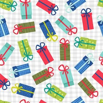 Geschenkboxen nahtlose muster. bunte geschenkboxen mit bändern und schleifen, auf hellem hintergrund für geschenkdekorationen und urlaubshintergründe.