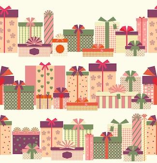 Geschenkboxen nahtloses horizontales randmuster. eingewickelte geschenke oder geschenkboxen.