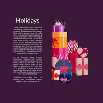 Geschenkboxen oder pakete stapeln in der tasche mit platz für text
