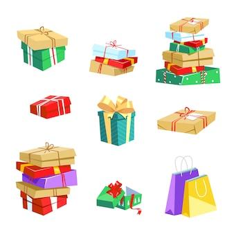 Geschenkboxen und paket für weihnachten, geburtstag, jubiläum Premium Vektoren