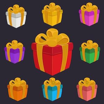 Geschenkboxen voller farbe