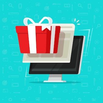 Geschenkboxgewinnen oder -preis auf flacher karikatur des computers