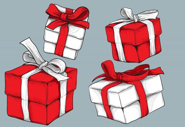 Geschenkboxsatz lokalisiert auf grau für elementdesign