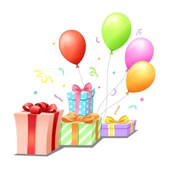 Geschenke ballon und regenbogen zum feiern