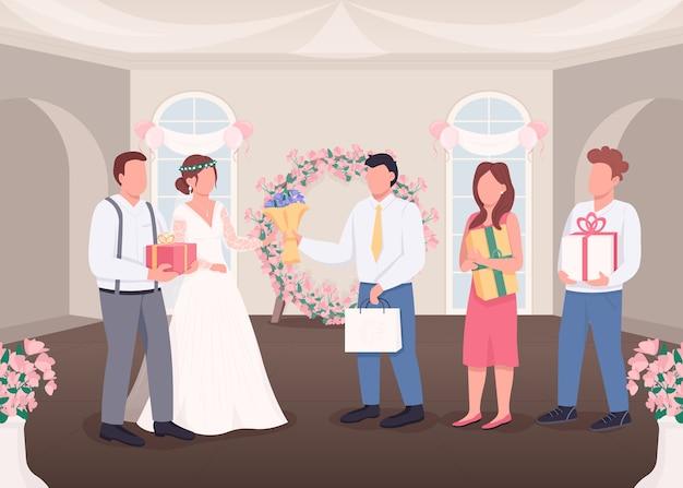 Geschenke für flache farbillustration der braut und des bräutigams