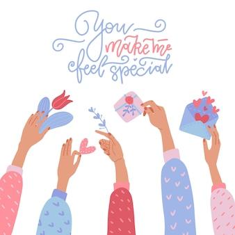 Geschenke machen. viele hände halten valentinstagsgeschenke -