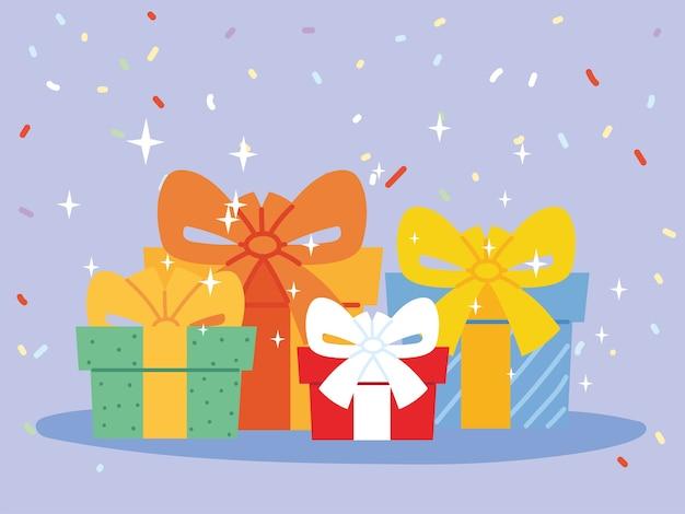 Geschenke mit schleifen, box präsentieren feiertagsweihnachtseinkaufsgeburtstagsfeierdekoration und überraschungsthemaillustration