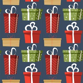 Geschenke und geschenkartikel verziert mit packpapier und nahtlosem muster der bögen