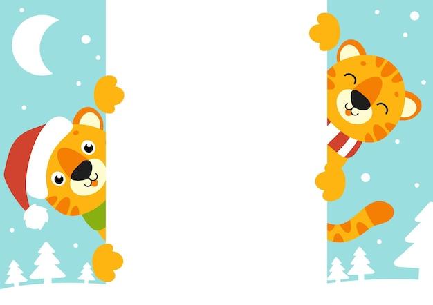 Geschenkfarbe grußkarte tiger in einer weihnachtsmütze frohes neues jahr und frohe weihnachten