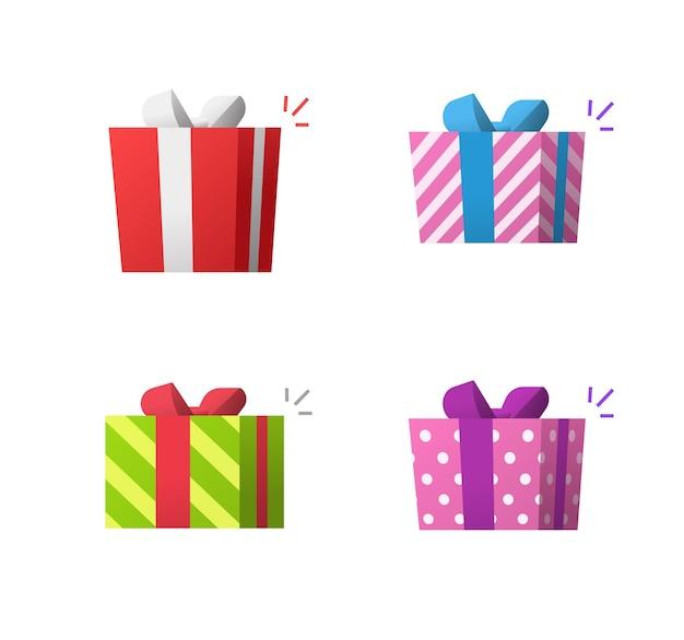 Geschenkgeschenkboxen überraschen ikonensatz isolierte flache karikaturvektorillustration