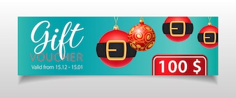 Geschenkgutschein Beschriftung und Weihnachtskugeln mit Gürtel