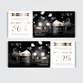 Geschenkgutschein feuchtigkeitsspendende gesichtscreme für den jahresverkauf oder festivalverkauf schwarz-goldene crememaske.