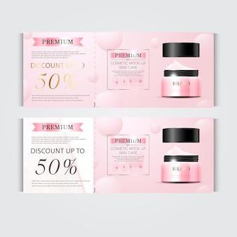 Geschenkgutschein feuchtigkeitsspendende gesichtscreme für den jahresverkauf oder festivalverkauf silberne und rosa crememaske