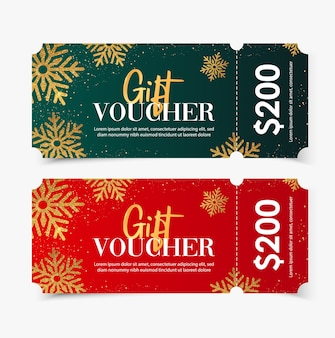 Geschenkgutschein frohe weihnachten vorlage mit schneeflocken gold.
