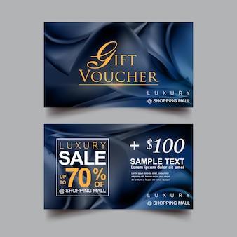 Geschenkgutschein luxus blauer hintergrund vektor vorlage