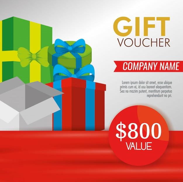 Geschenkgutschein mit geschenken und sonderrabatt