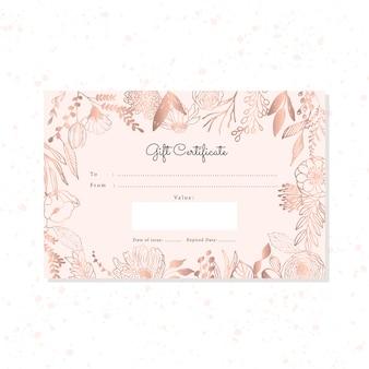 Geschenkgutschein mit hand gezeichnetem rosengoldblumenhintergrund