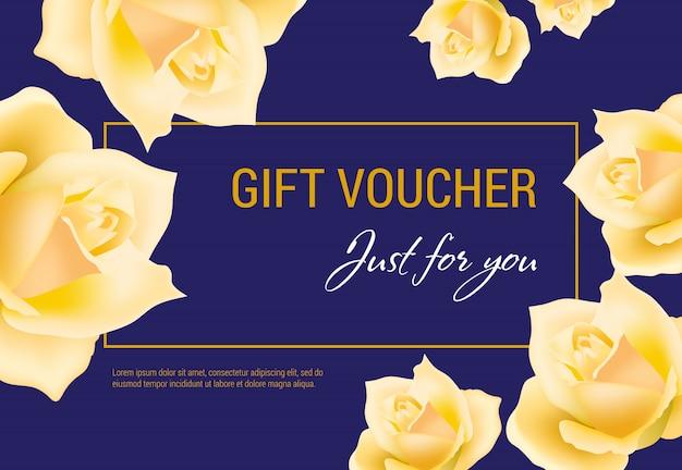 Geschenkgutschein nur für sie schriftzug mit gelben rosenköpfen.