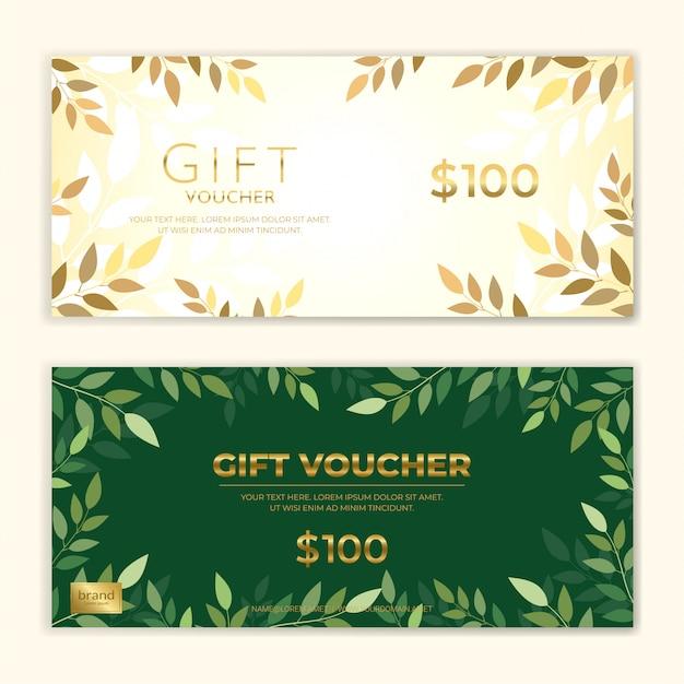 Geschenkgutschein oder bargeldcoupon-schablonensatz