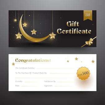 Geschenkgutschein- oder gutschein-layout in vorderer und hinterer schrift mit g