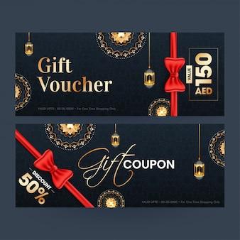 Geschenkgutschein- oder gutscheinvorlagenlayout mit verschiedenen rabattangeboten