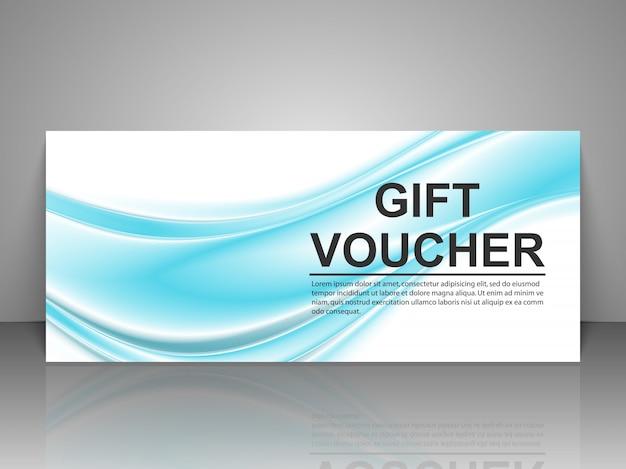 Geschenkgutschein vorlage mit blauen wellen