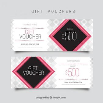 Geschenkgutschein vorlage mit rosa quadrat