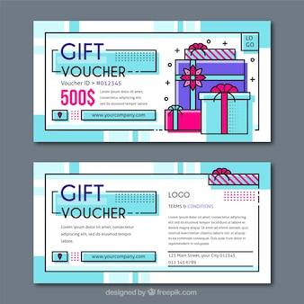 Geschenkgutscheine mit farbdetails in flaches design