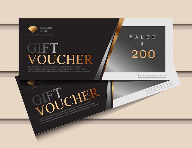 Geschenkgutscheinschablone mit glitzergold-luxuselementen.