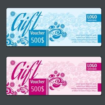 Geschenkgutscheinvektorschablone. gutscheingutschein, kartengeschenk, zertifikatsgeschenk, etikettenpapiergeschenk, spezielle gutscheingeschenkillustration