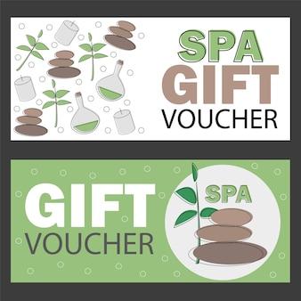 Geschenkgutscheinvorlage für spa, hotelresort, vektorillustrationsbanner - rabattkarte
