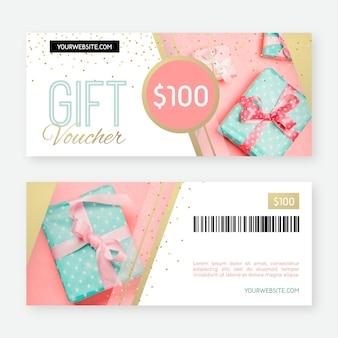 Geschenkgutscheinvorlage mit geschenkfoto