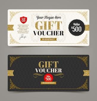 Geschenkgutscheinvorlage mit glitzergold. illustration.