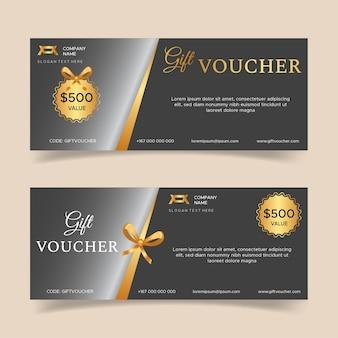 Geschenkgutscheinvorlage mit goldenen luxuselementen