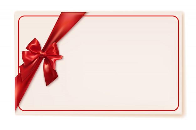 Geschenkkarte mit rotem band und bogen mit copyspace. vektor-illustration